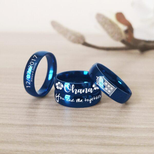 Anello Acciaio Blu Personalizzato